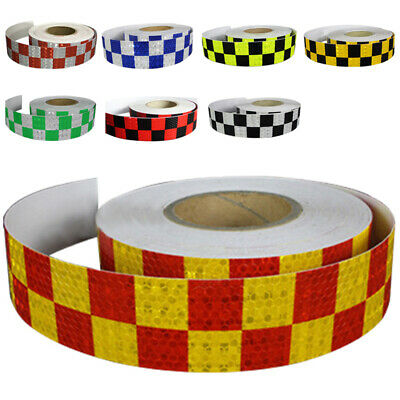 1M Reflective Safety Warning Conspicuity Tape Sticker, White+blue U7C3