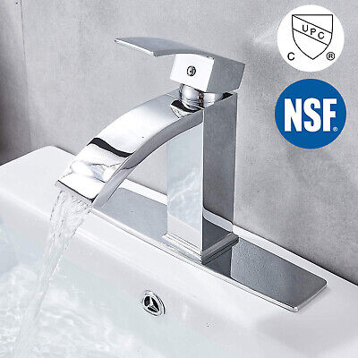 "Chrome Bathroom Vanity Sink Faucet  Waterfall Single Lever 1 Hole with 10"" Cover"