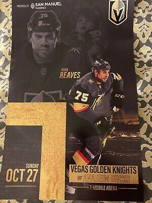 Vegas Golden Knights Poster Program 10/27/19 Reaves Goal vs Ducks NHL