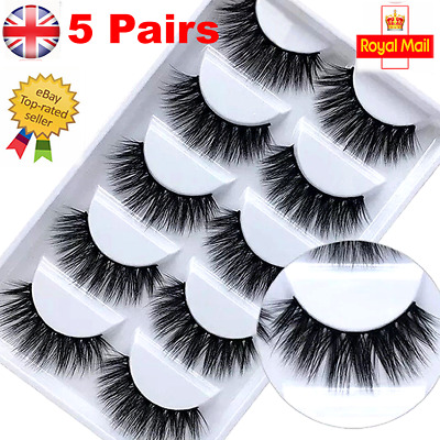 UK 5 Pair 3D Mink False Eyelashes Wispy Cross Long Thick Soft Fake Eye Lashes