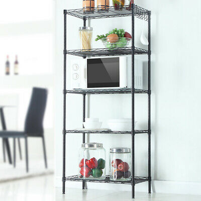 5 Tier Wire Shelving Unit Adjustable Metal Shelf Rack Kitchen Storage Organizer