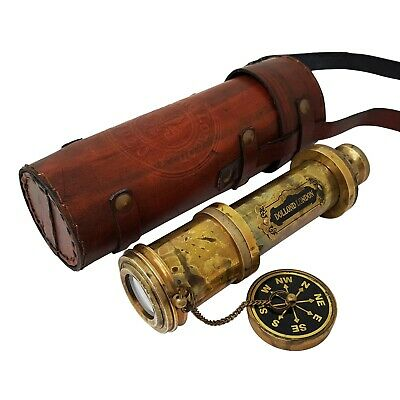 18 inches Antique Telescope / Spyglass Replica in Leather Box (Dollond London's)
