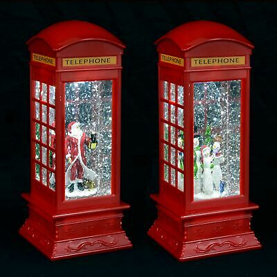 Red Phone Box Light Up LED Glitter Snow Storm Santa Snowman Christmas Decoration