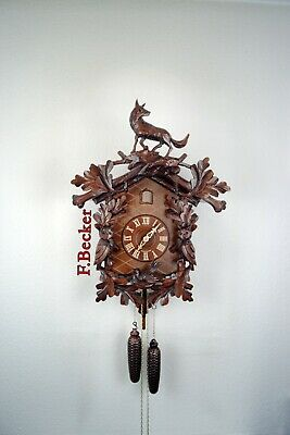 #14 Handmade Black Forest Cuckooclock - Hunters Style - with Hand Carved Fox