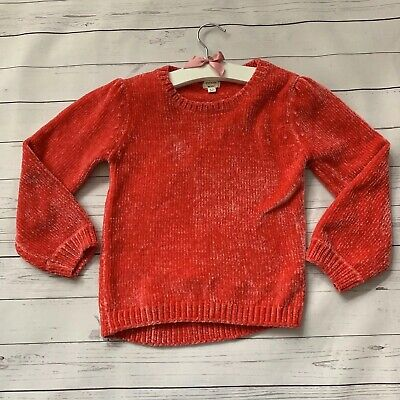 Girls 4-5 Years - Jumper - RIVER ISLAND Red Pink Velour Super Soft Chunky Knit