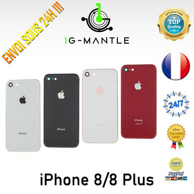Chassis + Vitre Arriere & Bouton Pre-Monte & Adhesif Batterie Iphone 8 / 8 Plus