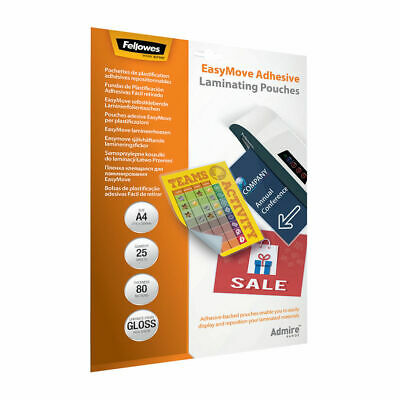 NEW! Fellowes Admire EasyMove A4 Laminating Pouches Pack of 25 5601701