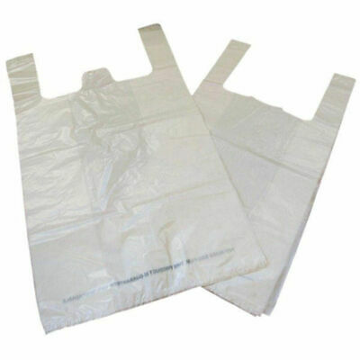 NEW! Carrier Bag Biodegradable White Pack of 1000 MA21135