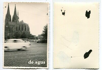 Vintage Photo circa 1960s Cologne Cathedral , driving Car ,Fiat 500
