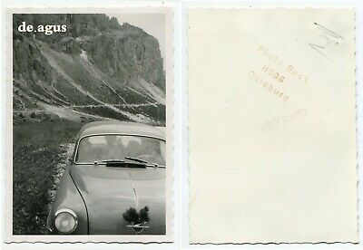 Vintage Photo circa 1960s Mountain,old german car Opel Rekord P1