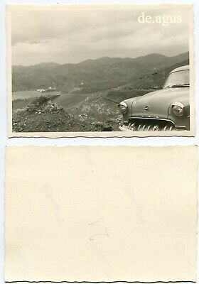 Vintage Photo circa 1960s beautiful landscape, Opel Rekord classic car