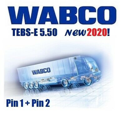 WABCO DIAGNOSTIC, LATEST E5.50, 2020!  PIN 1 and 2 included ( !!SALE!! )