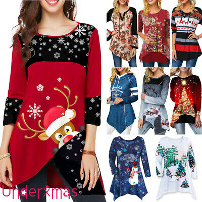 UK Womens Christmas Tops Snow Elk Ladies Xmas Party Tunic Blouse Shirt Pullover