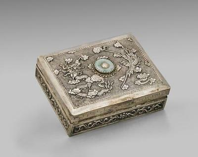 Antique Chinese Silver & Jade Marriage Box.
