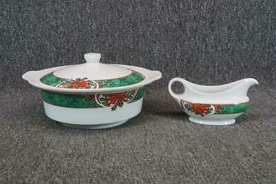 """Gibson Housewares China 10"""" Wide Serving Bowl With Lid & Creamer Christmas Patt"""