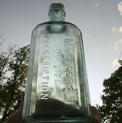 Antique Aqua Dr. Pierce's Favorite Prescription Bottle Quack Medicine Primitive
