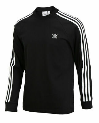 adidas Mens 3 Stripe Crew Neck Long Sleeve Breathable Sports