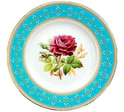 Antique English Fine Porcelain Flower Plate Turquoise Border Circa 1870
