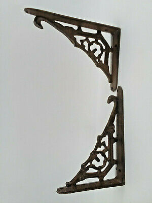 2 Brackets Garden Braces Shelf Bracket Corbel Cast Iron Antique Style Frontier