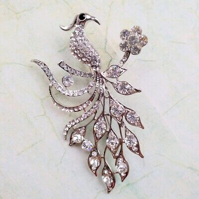 New Silver Tone Clear Crystal Phoenix Bird of Paradise Brooch in Gift Box