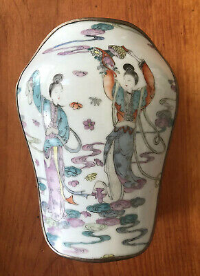 Beautiful Large Antique Chinese Qing Dynasty Pottery Vase Shard Silver Box