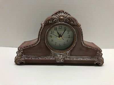 "Small Ornate Clock Mantle Shelf Desk 8.5"" Long Victorian Home Decor"