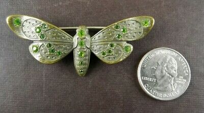 Antique Victorian Brooch Pin Brass Moth Butterfly Georgian Glass Stones