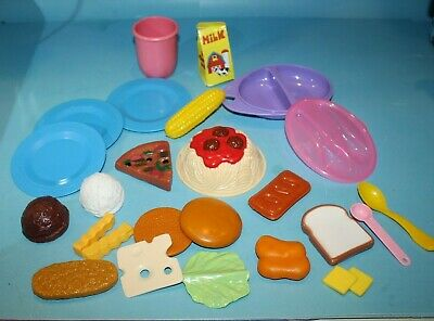 25 Pieces Pretend Play Fake Food Toy Kitchen Dishes Spoons Pizza Pasta Ice Cream