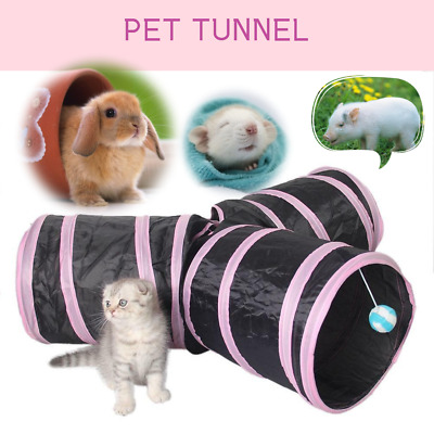 3-Way Pet Cat Tunnel Outdoor Game Playing Toy Foldable Kitten Rabbit PINK NEW