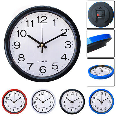 Round Wall Clock Modern Sweep Second Movement Quartz Bell Home Bedroom Decor
