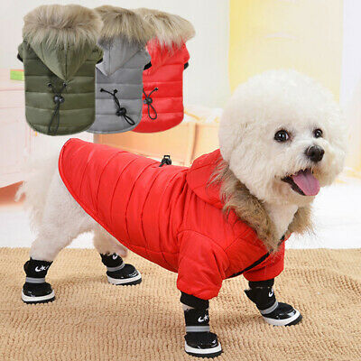 Fur Collar Dog Coat Winter Small Pet Cat Jacket Poodle Chihuahua Clothes Costume