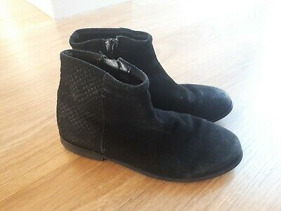 Next Girls Black Suede  Chelsea Ankle Boots UK 12