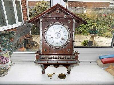 Impressive Antique Junghans Germany 8 Day Architectural Oak Striking Wall Clock