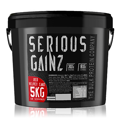Serious GAINZ Mass Gainer - 5kg - Whey Weight Gain Protein Powder (Red Velvet)