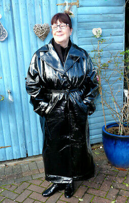 womans shiny black wet look long raincoat pvc pu vinyl UK 22 with belt NWT