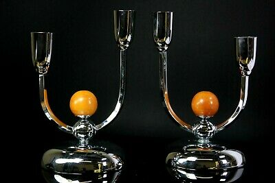 Vintage Pair of Art Deco Manner Silver Plated Candelabra Candlesticks