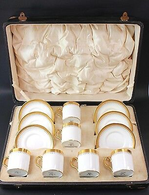 Antique New Chelsea Fine Porcelain Six Cup And  Saucer Cased Set