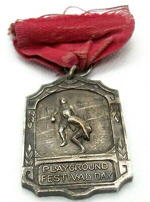 Heavy Antique 1926 Sterling Silver Playground Festival Day Award Medal 19+ Grams