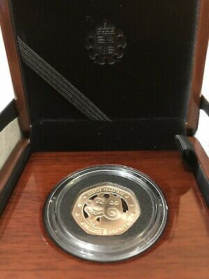 Wallace and Gromit 2019 UK 50p Gold Proof Coin, COA 215, Ltd Edition 630 In Hand