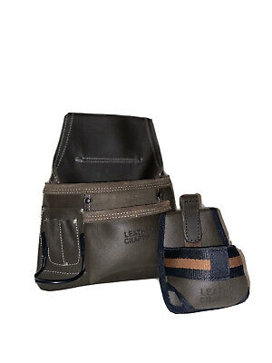 Heavy duty leather two pocket tool pouch with a metric tape measure holder