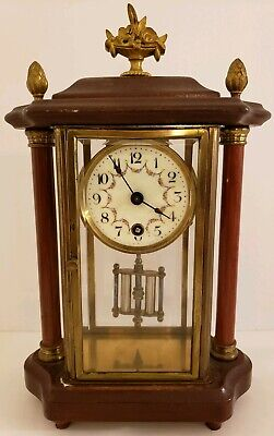 Antique German Brass & Beveled Glass Crystal Regulator Clock Wood Top & Columns