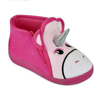 New Infant Girls Slippers Boots Unicorn Pink Mix Uk Size 4, 5, 6, 7, 8, 9, & 10