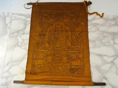 Antique Mongolian Buddhist Woodblock  Print Of Zanabazar  On Cotton
