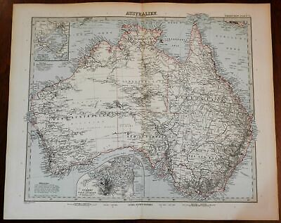 Australia continent Sydney inset Melbourne 1890 Stieler detailed map hand color