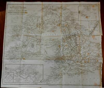 Transportation systems in British Isles railroads canals c.1850 bond paper map