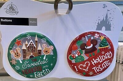 Gingerbread Mickey & Minnie Set of 2 Button Pins Christmas Disney Theme Parks