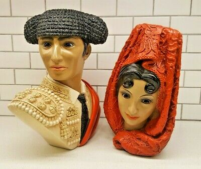 Vintage 1966 Marwal Matador and Spanish Woman Head Bust Pair by Brower