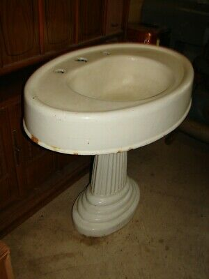 Antique Cast Iron 2 Piece Pedestal Sink with Fluted-Reeded Base