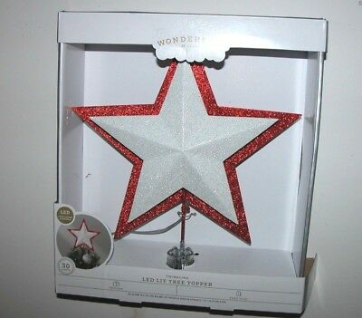 NEW NIB Christmas Lighted Star Tree Topper LED Red Twinkling Wondershop Clip-on