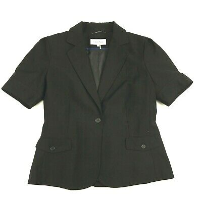 Calvin Klein Womens Black Collared Short Sleeve One Button Blazer 8